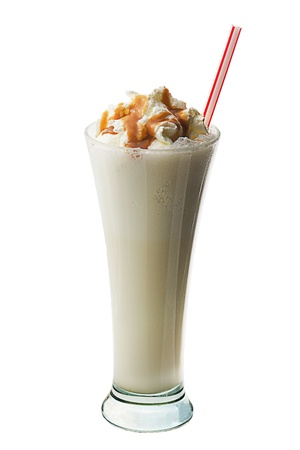 frappe: milk cocktail with ice-cream and nuts on white background