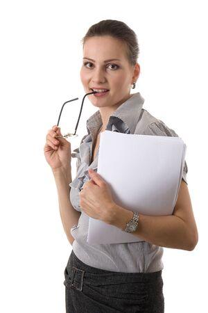 Beautiful businesswoman wearing glasses isolated on white photo