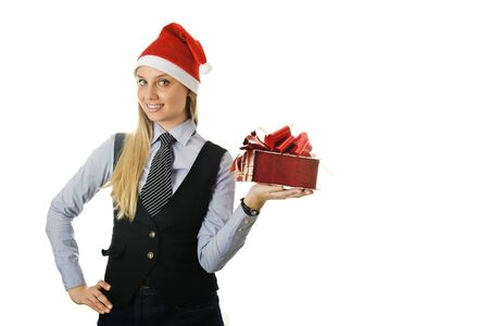 Businesswoman wearing a santa hat with a gift. isolated on white background photo