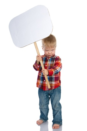 a placard: The laughing little boy the holding board with space for text Isolated on a White Background Stock Photo