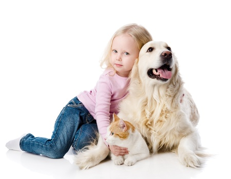 sitting dog: girl playing with pets - dog and cat  looking away  isolated on white background Stock Photo