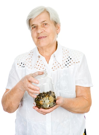 Senior woman hands holding jar with coins  isolated on white background photo