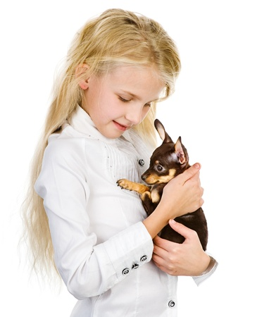 the girl embraces a puppy  isolated on white background photo