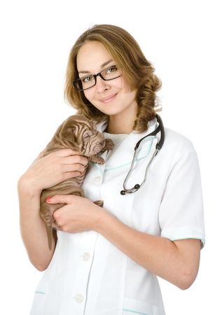 Beautiful veterinarian with puppy sharpei dog  looking at camera  isolated on white background photo