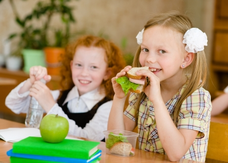 Group of classmates having lunch during break with focus on smiling girl with sandwich photo