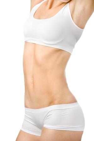 slim woman body  isolated on white background photo