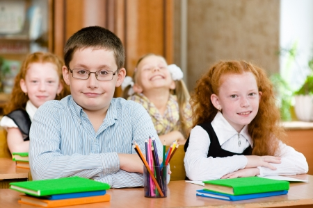 Portrait of happy school children photo