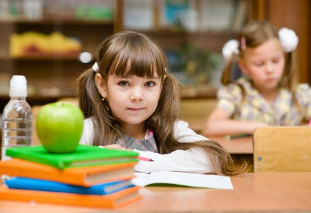 schooler: Portrait of lovely girl drawing in copybook and looking at camera
