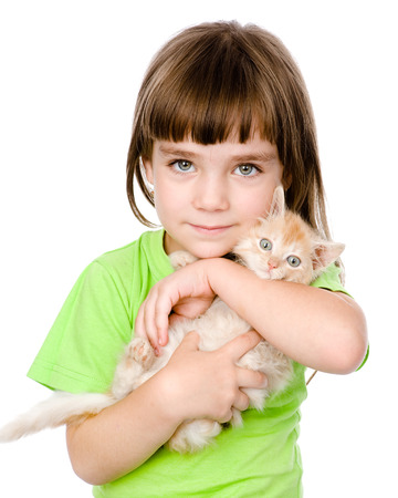 cats playing: little girl and a kitten in front  isolated on white background