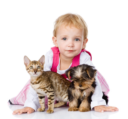 little girl with a puppy and a kitten  isolated on white background photo
