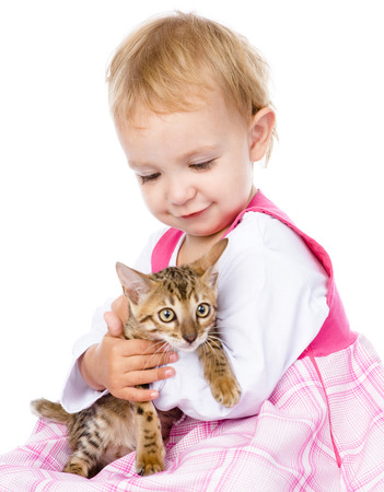 little girl holding small kitten  isolated on white background photo