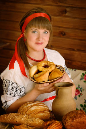 beautiful woman with pies photo