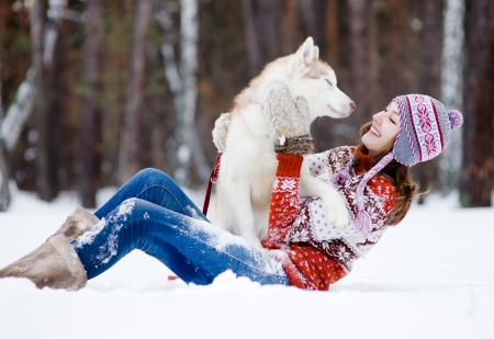 playful woman with dog photo