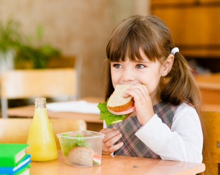 portrait schoolgirl while having lunch during photo