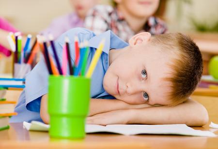schooler: Portrait of young schoolboy looking at camera