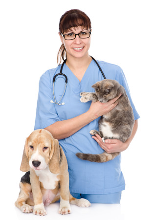 veterinarian with cat and dog  isolated on white background photo