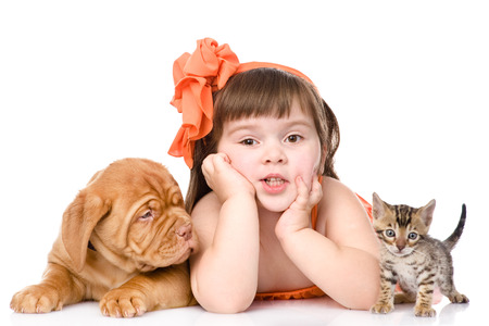 girl with a cat and a dog  isolated on white background photo