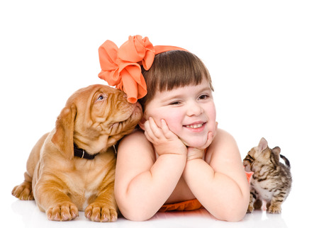 girl licking: girl with pets - dog and cat  isolated on white background
