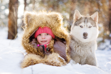 girl in a fur hat lying next to Husky in the snow in the forest photo