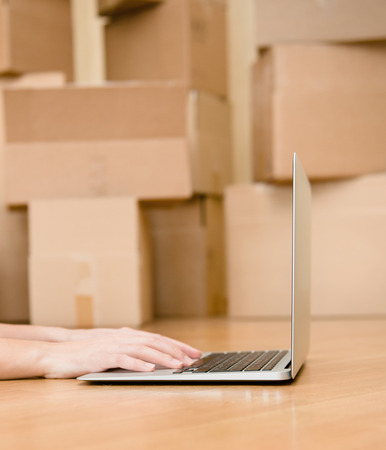 porter house: person using notebook with cardboard boxes on background Stock Photo