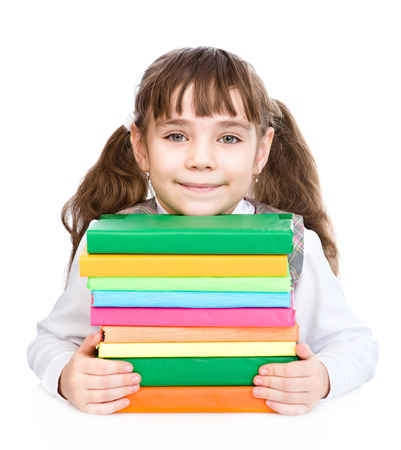 pile of books: little happy girl with pile books. isolated on white background