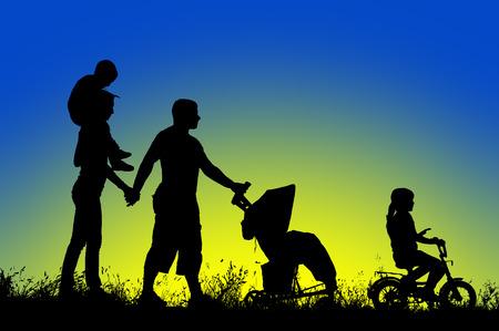 shoulder ride: large family walks at sunset.