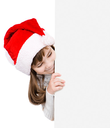 santa helper: Christmas girl in santa helper hat with blank white board. isolated on white background.