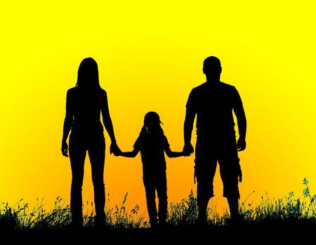 padre e hija: padre silueta, madre e hija tomados de la mano al atardecer. Foto de archivo