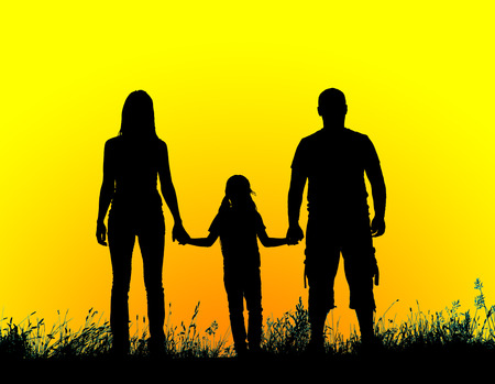 kids hand: silhouette father, mother and daughter holding hands at sunset. Stock Photo