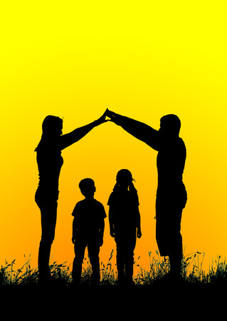 home family: Silhouette of a happy family making the home sign at sunset. Stock Photo