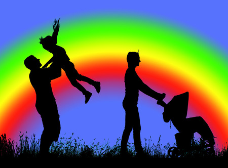 rainbows: family silhouette walking on a background of rainbow. Stock Photo