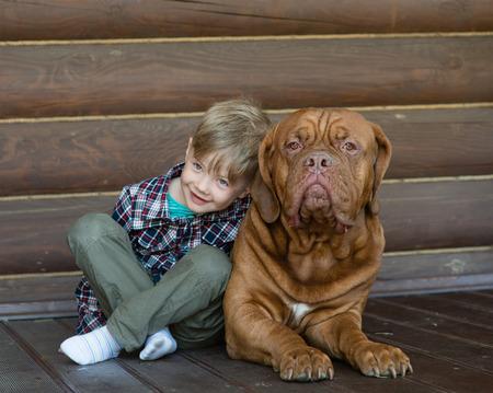 bordeaux dog: Little boy embracing big Bordeaux dog.