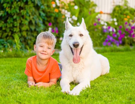 german swiss: young boy lying with White Swiss Shepherd dog on green grass.