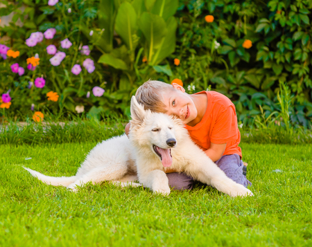 hugs: young boy and White Swiss Shepherd`s puppy