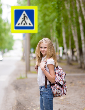 teenager girl: teenager girl near the pedestrian crossing Stock Photo