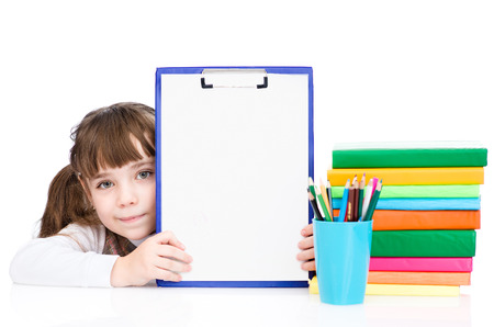 clipboard: young girl holding clipboard with blank paper. isolated on white background