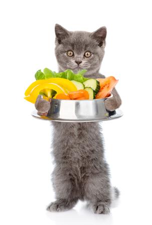 vitamina a: Gatito con plato de verduras. aislado sobre fondo blanco.