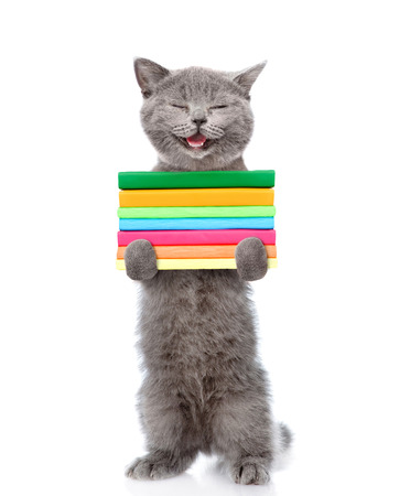 paw smart: Happy cat standing on hind legs and holding a stack of books. isolated on white background.