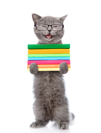 Happy cat in eyeglasses holding a stack of books. isolated on white background.