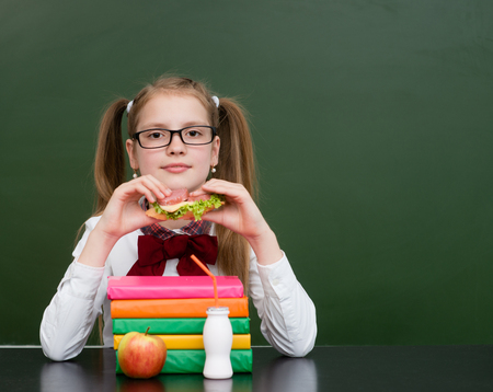 lunchtime: Teen girl eating a sandwich at lunchtime. Stock Photo