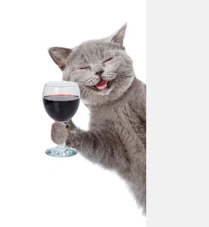 흰색과 빈 배너 뒤에 와인 잔을 들고 행복 고양이. 흰색 배경에 고립.