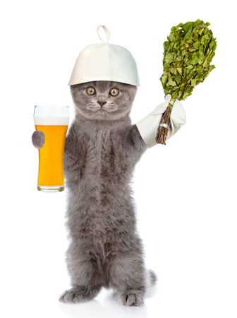 cat grooming: Funny cat in the hat for a bath holding a beer and birch broom. isolated on white background.