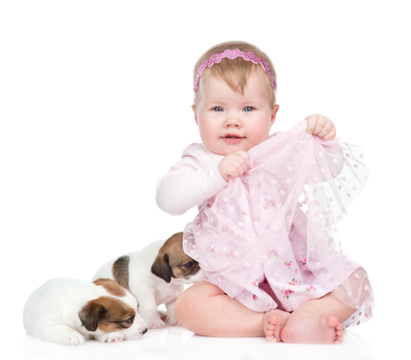 Happy little girl with puppies. isolated on white background.