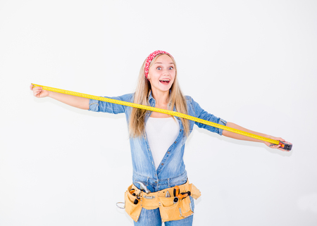 mockery: Happy woman with a measuring tape.