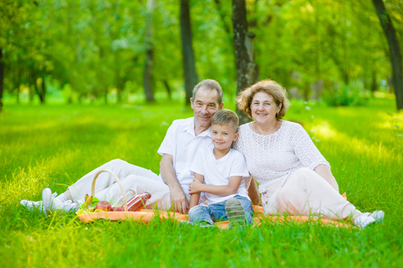 Portrait of an elderly couple with her grandson on a picnic outdoors.