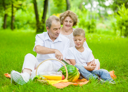 Happy elderly people with little boy cut a watermelon on a picnic outdoors. Stock Photo