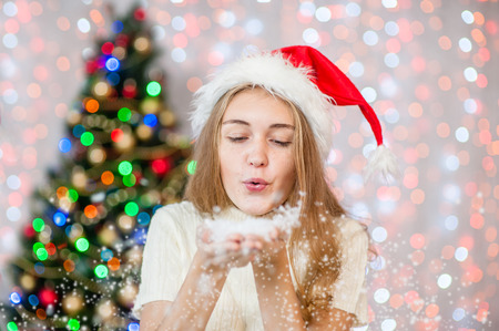 Christmas Teen Girl Blowing Snow Stock Photo 90613405