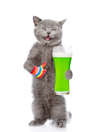 St. Patricks Day. Happy cat with a glass of green beer. isolated on white background.