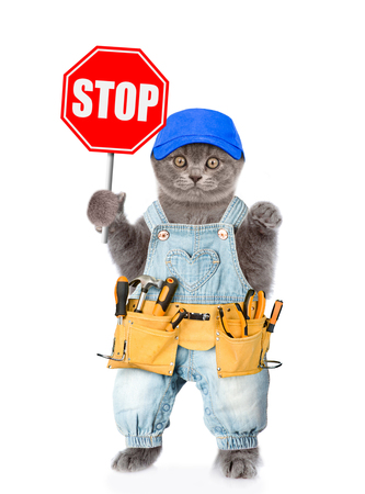 Funny kitten in overalls and blue cap with tool belt showing stop sign. Isolated on white background.