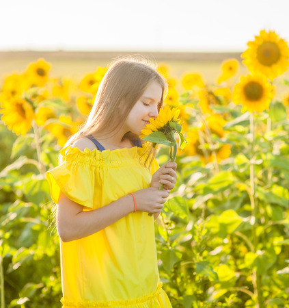 Happy Smiling female standing in sunflowers field and smell a flower. Stock Photo